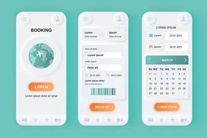 kit di progettazione di app mobile neomorfico unico per prenotazione di voli vettore