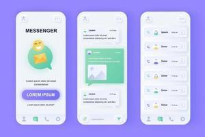 kit di progettazione di app mobile neomorfico unico di messenger online vettore