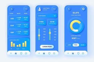 kit di progettazione di app mobile neomorfica unico per servizi finanziari vettore