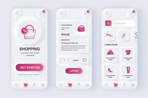 kit di progettazione di app mobili neomorfiche unico per lo shopping online vettore