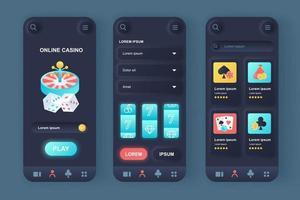 kit di design di app mobile neomorfico unico per casinò online vettore