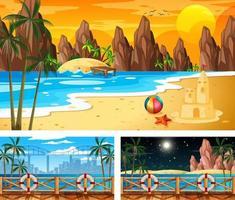 tre diverse scene di paesaggi sulla spiaggia vettore