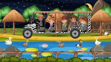 gruppo di anatre nella scena del safari con i bambini nell'auto turistica vettore