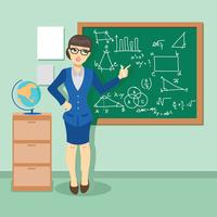 Giovane insegnante in classe che impartisce una lezione di matematica vettore