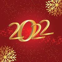 felice anno nuovo 2022 biglietto di auguri di invito con palla di partito su sfondo rosso vettore