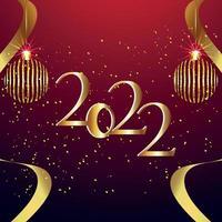 effetto testo dorato del biglietto di auguri di invito felice anno nuovo 2022 vettore