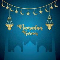 illustrazione vettoriale di ramadan kareem e sfondo con lanterna dorata