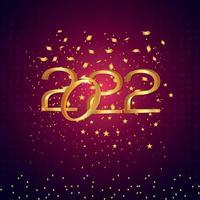 effetto testo dorato di sfondo celebrazione felice anno nuovo 2022 vettore