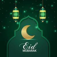 eid mubarak invito illustrazione vettoriale di luna d'oro e lanterna