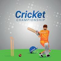 illustrazione vettoriale di giocatore di cricket con sfondo stadio per il campionato di cricket