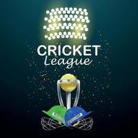 partita di torneo della lega di cricket con attrezzatura da cricket e sfondo dello stadio vettore