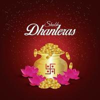 felice diwali illustrazione vettoriale di moneta d'oro pentola con fiore di loto