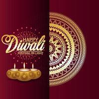 felice sfondo creativo di diwali con sfondo creativo mandala e diwali diya vettore