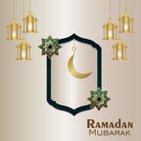 illustrazione creativa della lanterna e della luna dorate del ramadan kareem vettore