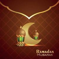 biglietto di auguri di celebrazione del ramadan kareem con illustrazione vettoriale di luna dorata e lanterna realistica