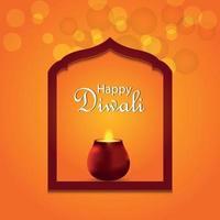 cartolina d'auguri felice dell'invito di festival indiano di diwali con diya d'ardore di vettore creativo
