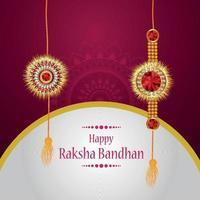 biglietto di auguri celebrazione felice raksha bandhan con rakhi di cristallo creativo vettore