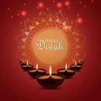 felice diwali festival di luce biglietto di auguri invito con lampada a olio creativa diwali diya vettore