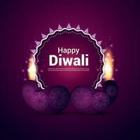 illustrazione vettoriale di felice biglietto di auguri invito diwali con lampada a olio vettore creativo su sfondo viola