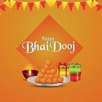 felice sfondo bhai dooj con merigold e puja thali vettore