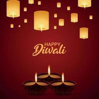 felice illustrazione vettoriale di vacanza diwali con lampada diwali e diya olio vettoriale