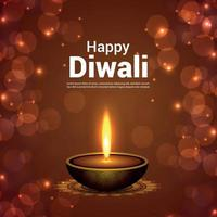 felice diwali celebrazione illustrazione vettoriale su sfondo creativo