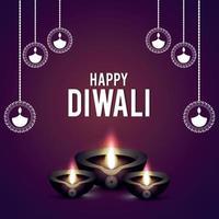 felice biglietto di auguri di celebrazione di diwali con lampada a olio creativa di diwali diya vettore