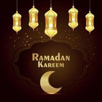 biglietto di auguri di celebrazione del ramadan kareem con lanterna dorata e luna vettore