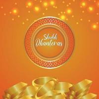 festival indiano della cartolina d'auguri dell'invito di dhanteras felice vettore