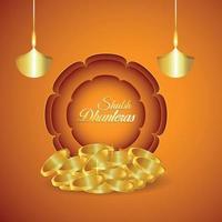 festival indiano di auguri di invito dhanteras felici con moneta d'oro vettore