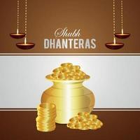 biglietto di auguri di invito shubh dhanteras con illustrazione vettoriale creativa di pentola moneta d'oro