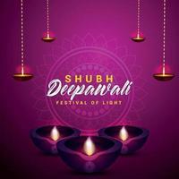 felice diwali celebrazione biglietto di auguri con diya vettore creativo su sfondo viola