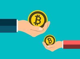 mano che tiene il concetto di bitcoin dà una medaglia bitcoin vettore