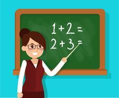 insegnante che insegna matematica in un'aula vettore