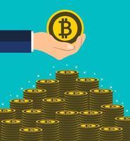 concetto di bitcoin aziendale. mano che tiene ottenere monete a mano. mettere soldi scale.illustrazione vettoriale