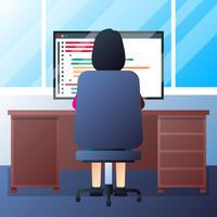 Sviluppatore di app femminile sul monitor che sviluppa l'illustrazione di applicazioni