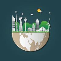 la costruzione di ecology.green città aiuta il mondo con idee ecologiche concept.vector illustrazione vettore