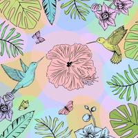 colibrì e schizzo di foglie tropicali. colori brillanti. vettore