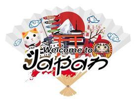 benvenuto in giappone con elementi tradizionali giapponesi vettore