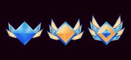 medaglie badge rango diamante ui gioco ui con ali impostate vettore