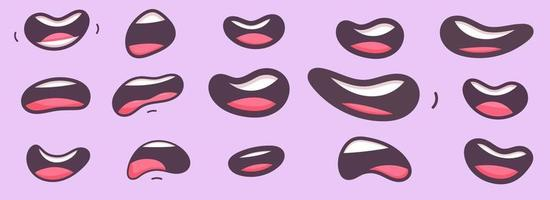 bocche divertenti del fumetto impostate con espressioni diverse. sorridere con i denti, tristezza, sorpreso. illustrazione vettoriale in stile piatto