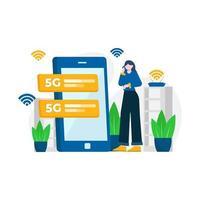 le persone godono di servizi 5g per la comunicazione con cellulari e computer illustrazione vettoriale, adatti per pagina di destinazione, interfaccia utente, sito Web, app mobile, editoriale, poster, flyer, articolo e banner vettore