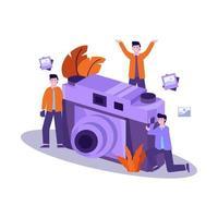 illustrazione vettoriale piatto del fotografo prepara l'attrezzatura e scatta una foto del modello professionalmente