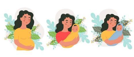 set di diversi personaggi femminili gravidanza e neonati, madre e bambino in armi insieme, illustrazione vettoriale in stile doodle, disegnare a mano.