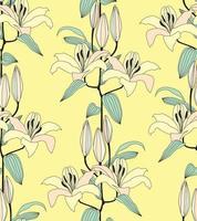 motivo floreale senza soluzione di continuità. fiore di giglio fioritura sfondo. ornamento retrò con texture floreale con fiori. fiorisce la carta da parati alla moda ornamentale piastrellata vettore