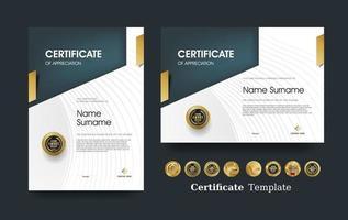 certificato di modello di apprezzamento e design di badge premium di lusso vettoriale. vettore