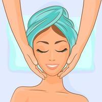 giovane donna che ottiene trattamento di massaggio termale vettore