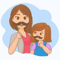 mamma e sua figlia che giocano con i baffi finti vettore