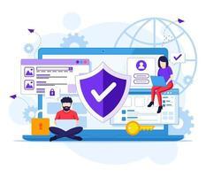 concetto di sicurezza Internet, le persone lavorano su laptop, connessione internet sicura. illustrazione vettoriale
