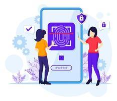 concetto di tecnologia di riconoscimento delle impronte digitali, donne che cercano di accedere al suo telefono cellulare con controllo di accesso biometrico. illustrazione vettoriale